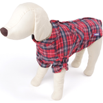 Dog Flanno Shirt Coat Small 40cm Red - Fleece Lined