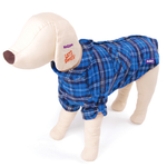 Dog Flanno Shirt Coat Large 59.5cm Blue - Fleece Lined