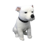 Brewster the White Staffy - 32cm sitting
