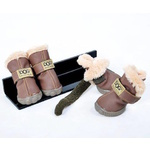 Dog Shoes with Faux Fur Lining, Size 4, Chocolate