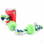 Dogit Multi Coloured 3 Knot & 2 Tennis Ball Rope Dog Toy