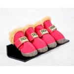 Dog Shoes with Faux Fur Lining, Size 3, Pink
