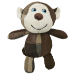 Furry Face Check Mates Monkey Dog Toy 23cm