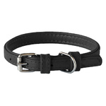 Rogz Leather Pin Buckle Collar Black Xsmall 12mm