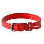 Rogz Leather Pin Buckle Collar Red Small 15mm