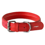 Leather Pin Buckle Dog Collar Red X-large 35mm