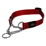 Rogz Fanbelt Half Check Collar Large Red