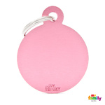 Pet Name ID Tag Pink Big Circle