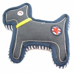 Denim Striped Dog Toy with Squeaker