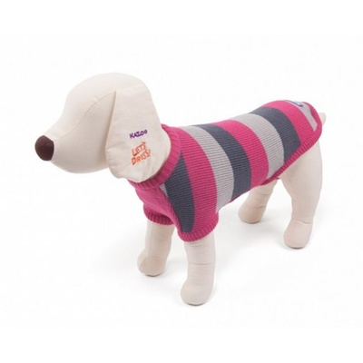 Staffy Dog Jumper Coat Intermediate 53cm Pink / Grey Stripe