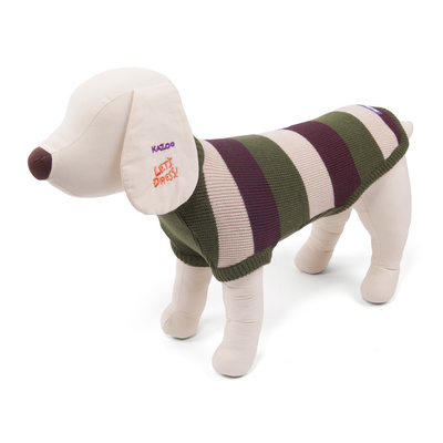 Staffy Dog Jumper Coat XX-Small 27cm Olive / Brown Stripe