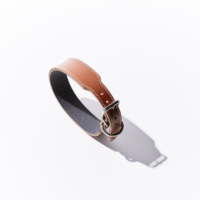 Leather Staffy Dog Collar Brown 65cm