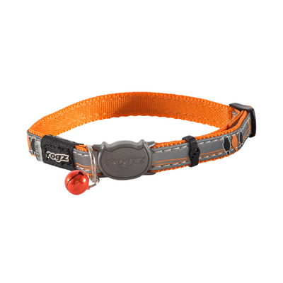 Rogz Nightcat Safeloc Collar Orange Bird 11mm