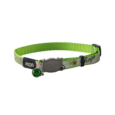 Cat Collar - Safeloc Reflectocat Lime Fish 8mm