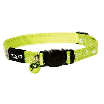 Cat Collar - Safeloc Silkycat Lime Filigree 11mm