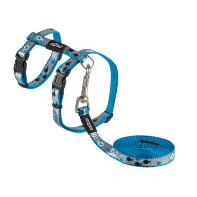 Rogz Cat Harness & Lead Set - Reflecto Cat Blue Small