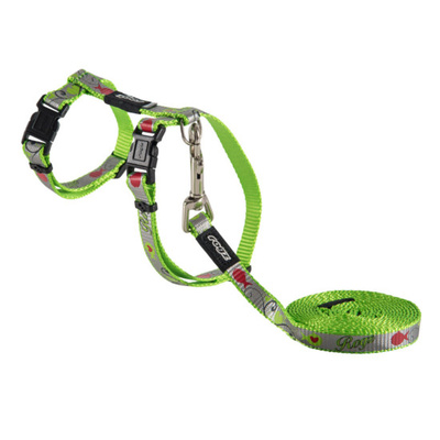 Rogz Cat Harness & Lead Set - Reflecto Cat Lime Small