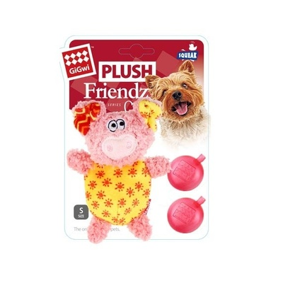 GigWi Plush Pig With Squeaker Pink / Yellow
