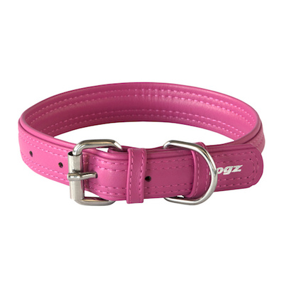 Rogz Leather Pin Buckle Collar Pink Large 25mm