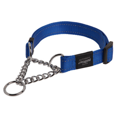 Rogz Fanbelt Half Check Collar Large Blue