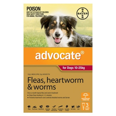Advocate for Dogs 10-25kg - Red 3 Pack