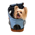 Pet Backpack / Front Carrier Denim Fun by Ibiyaya for cats & small dogs