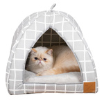 Mog & Bone Cat Igloo Bed / Grey Check Print