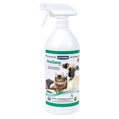 Vetsense PeeGone Pet Stain and Odour Remover Spray 1L Apple Scent